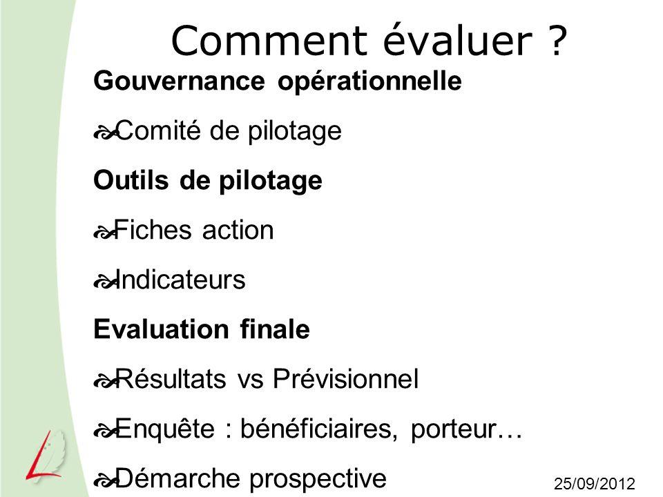 Comment évaluer Gouvernance opérationnelle Comité de pilotage