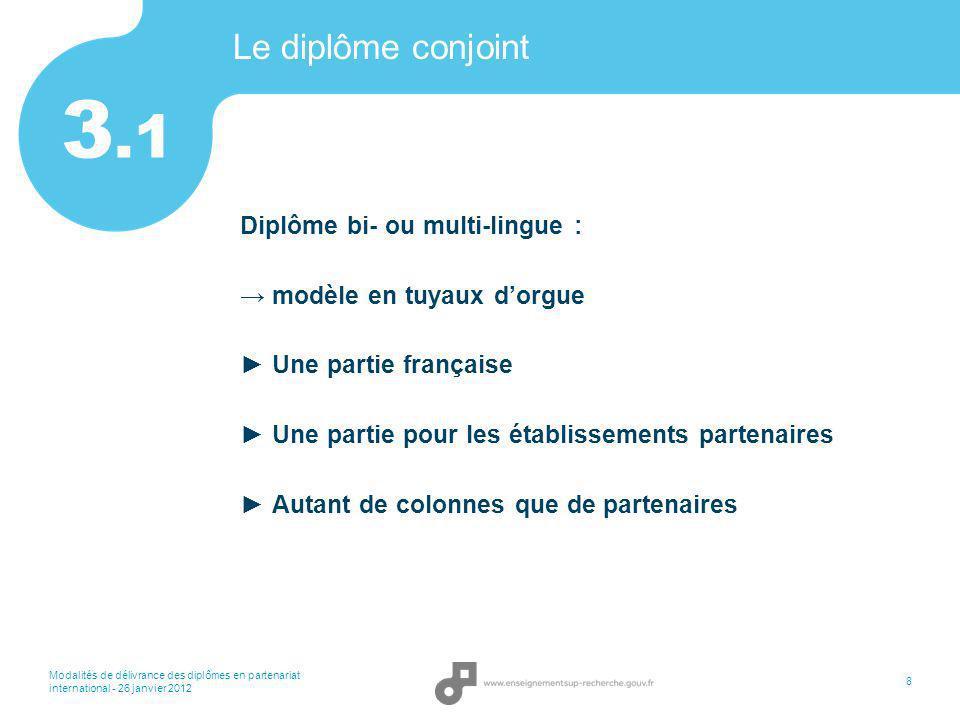 3.1 Le diplôme conjoint Diplôme bi- ou multi-lingue :