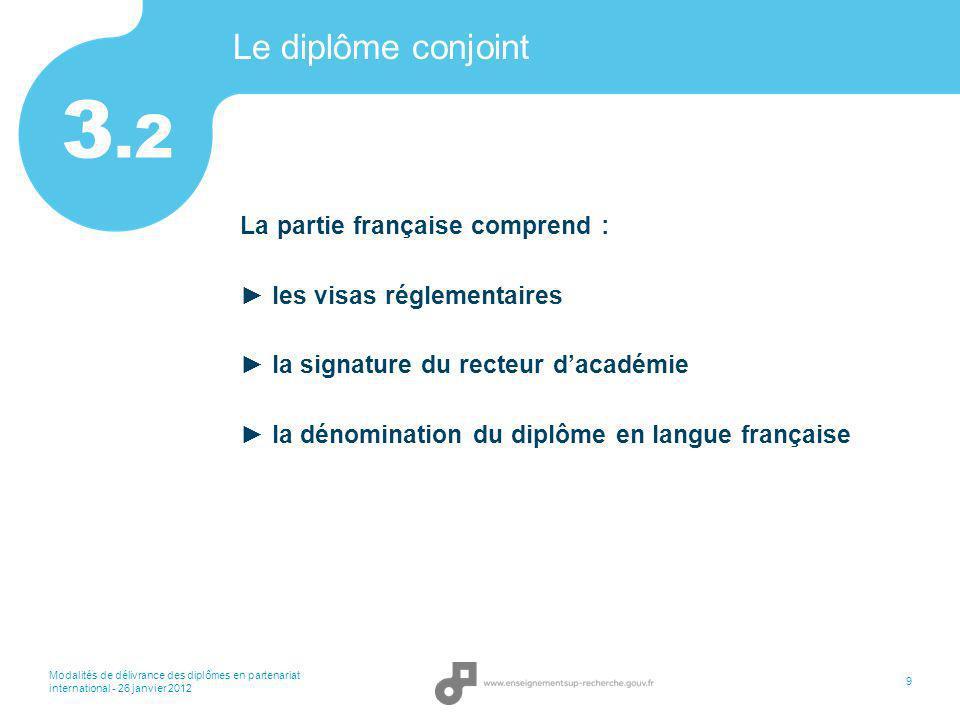 3.2 Le diplôme conjoint La partie française comprend :