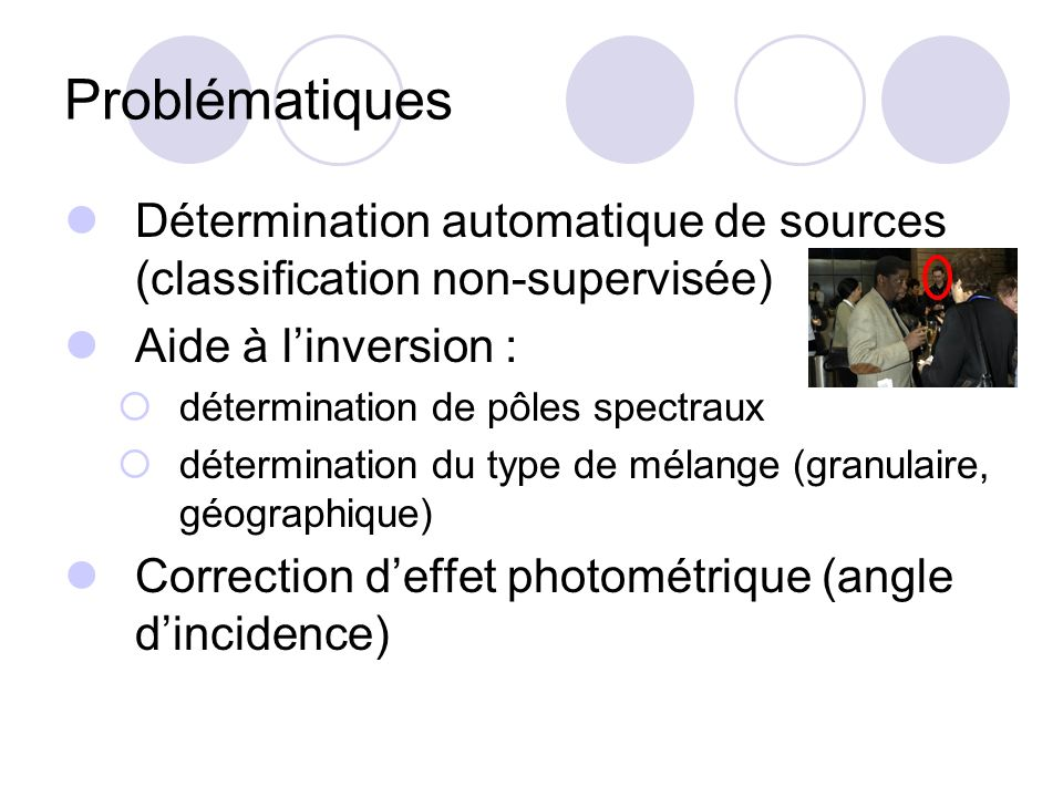 ProblématiquesDétermination automatique de sources (classification non-supervisée) Aide à l'inversion :