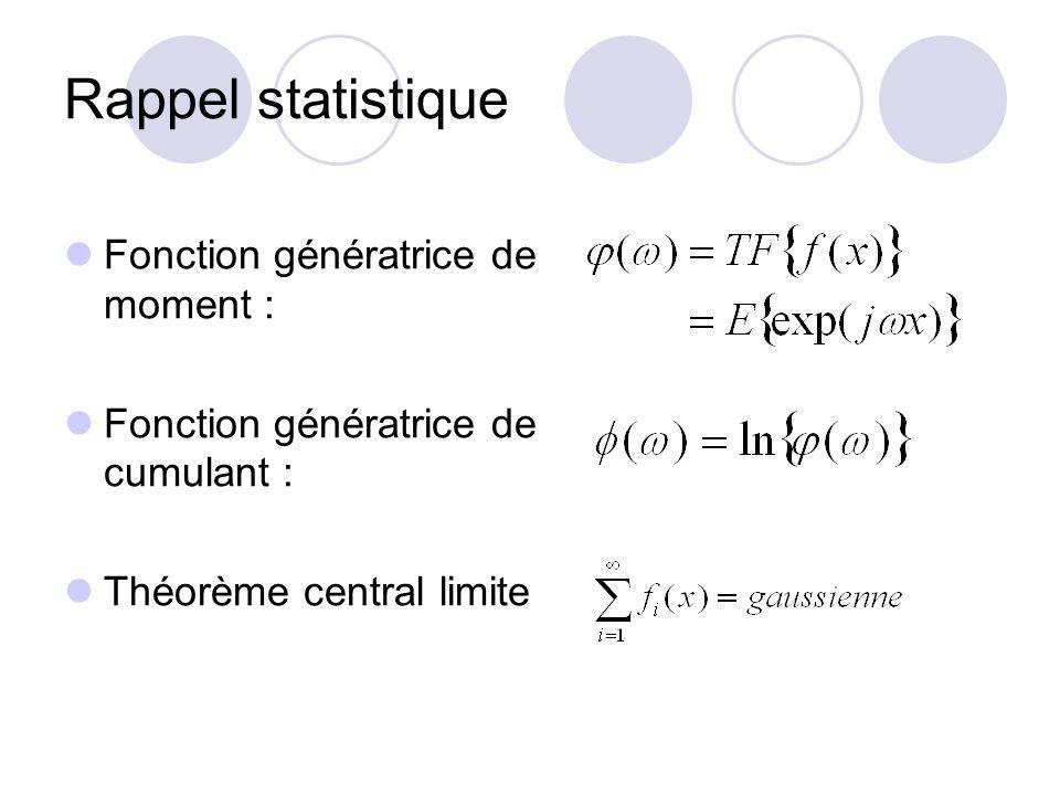 Rappel statistique Fonction génératrice de moment :