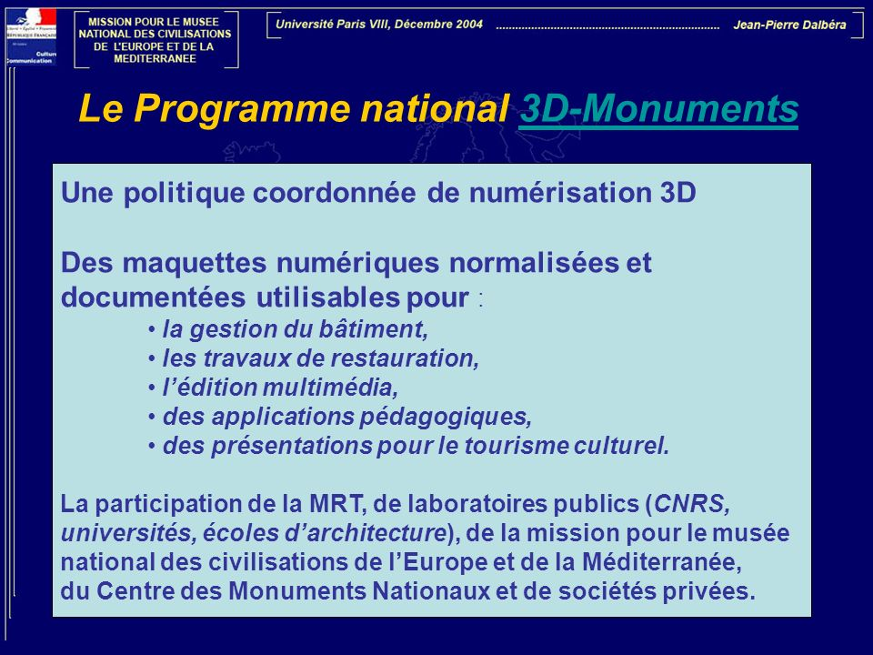 Le Programme national 3D-Monuments