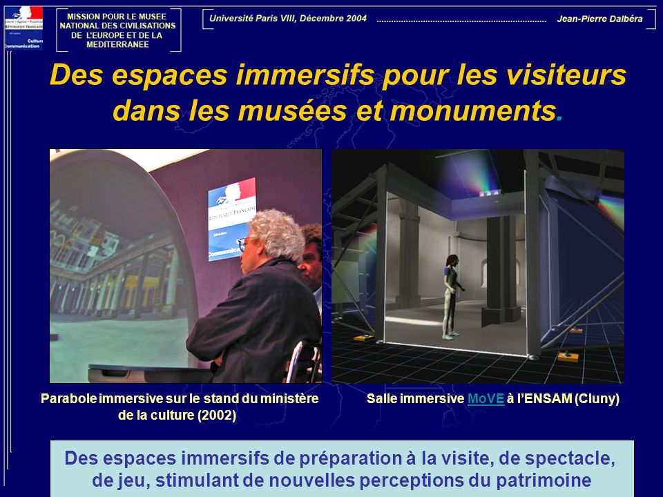 Des espaces immersifs pour les visiteurs dans les musées et monuments.