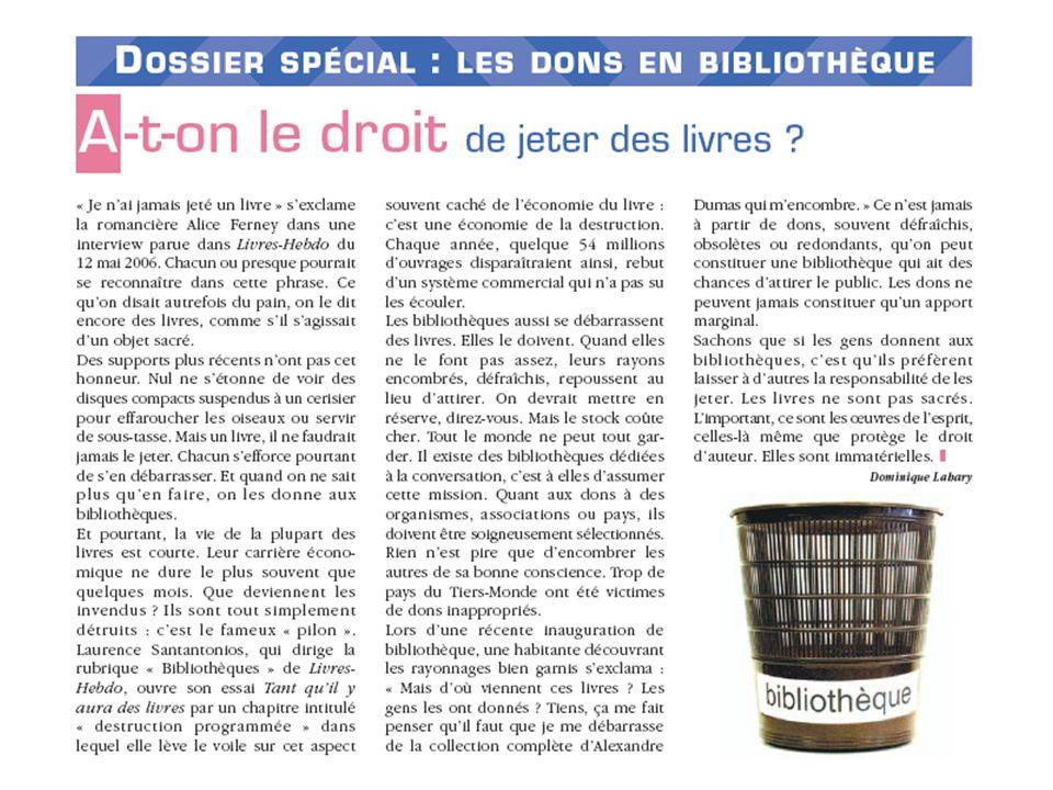 Sacrés bouquins ! Désherbage et conservation partagée - Médiadix, Saint-Cloud, 15 avril 2008