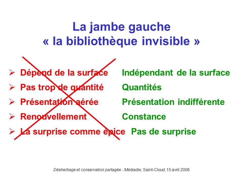 La jambe gauche « la bibliothèque invisible »