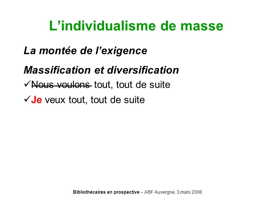 L'individualisme de masse