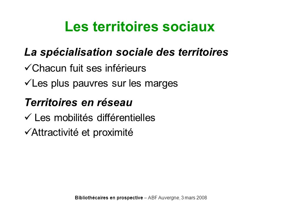 Les territoires sociaux