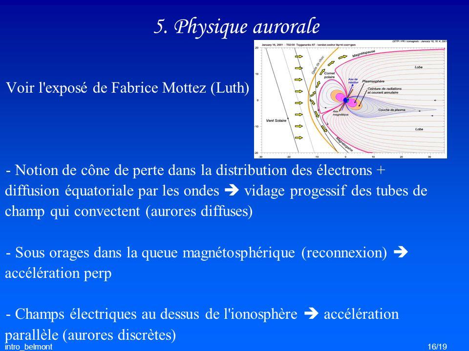5. Physique aurorale Voir l exposé de Fabrice Mottez (Luth)