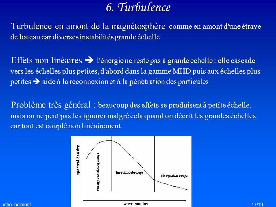 6. Turbulence Turbulence en amont de la magnétosphère comme en amont d une étrave de bateau car diverses instabilités grande échelle.