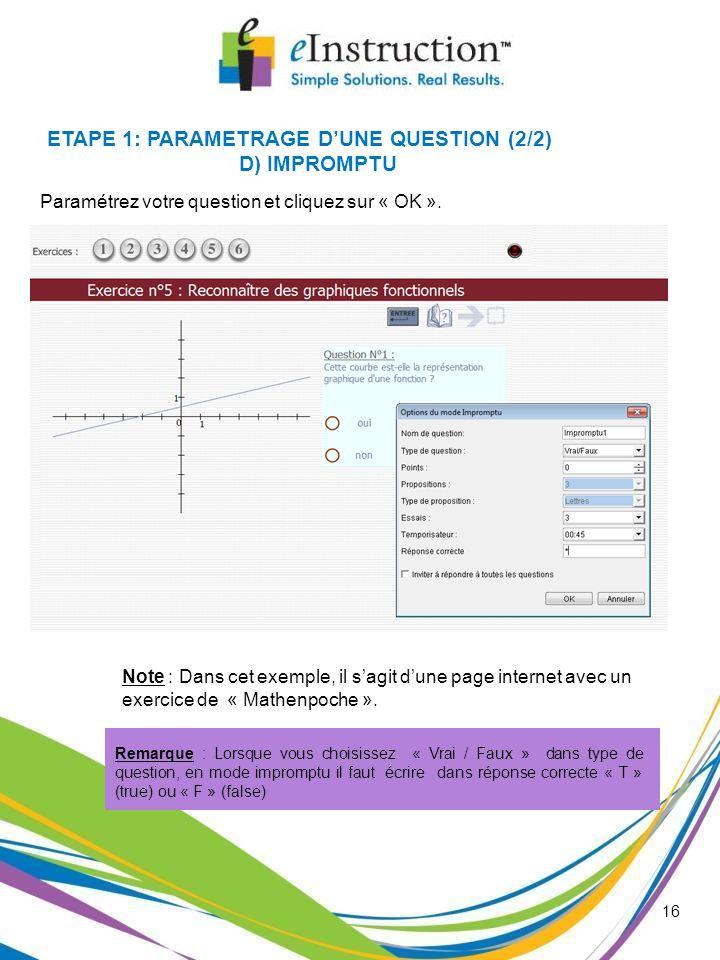ETAPE 1: PARAMETRAGE D'UNE QUESTION (2/2)
