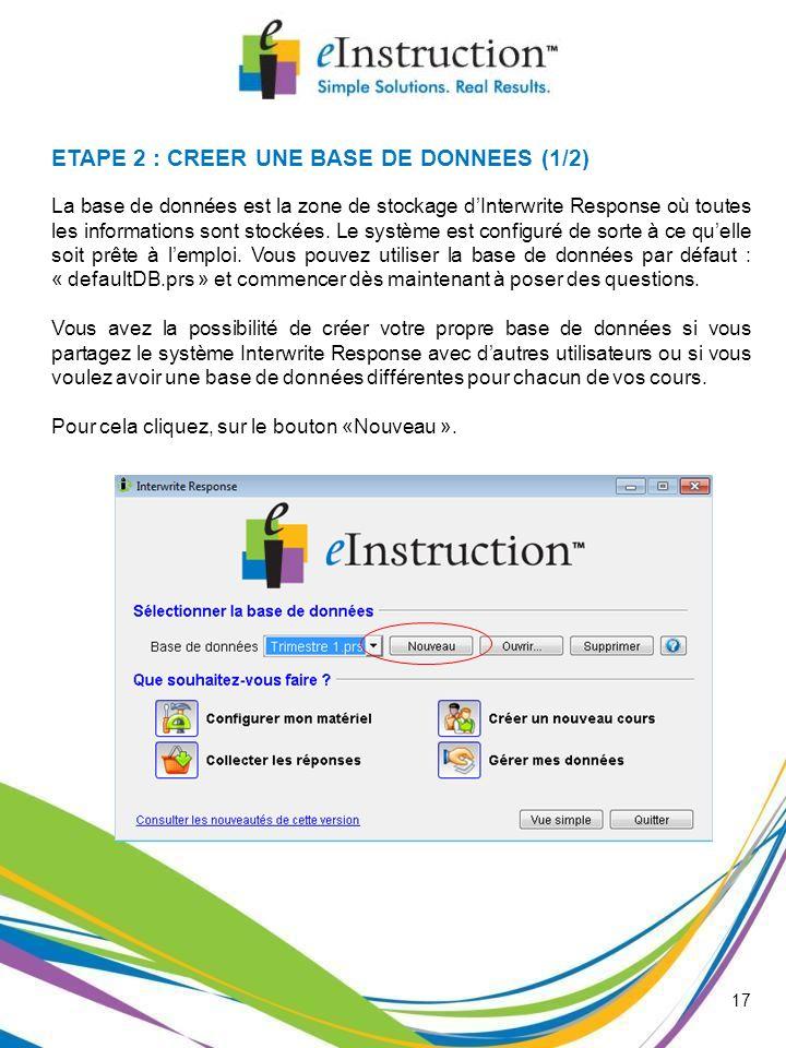 ETAPE 2 : CREER UNE BASE DE DONNEES (1/2)