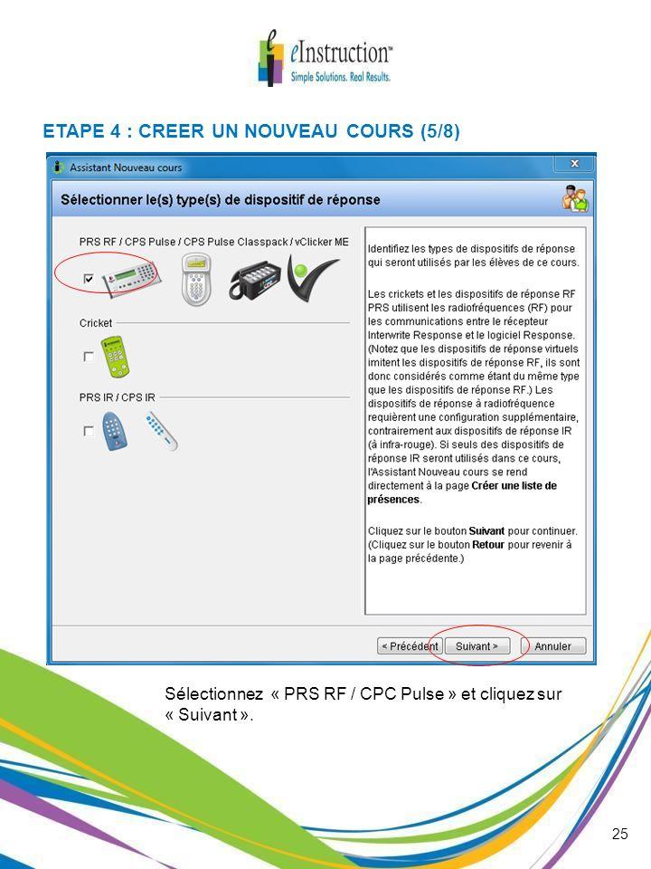 ETAPE 4 : CREER UN NOUVEAU COURS (5/8)