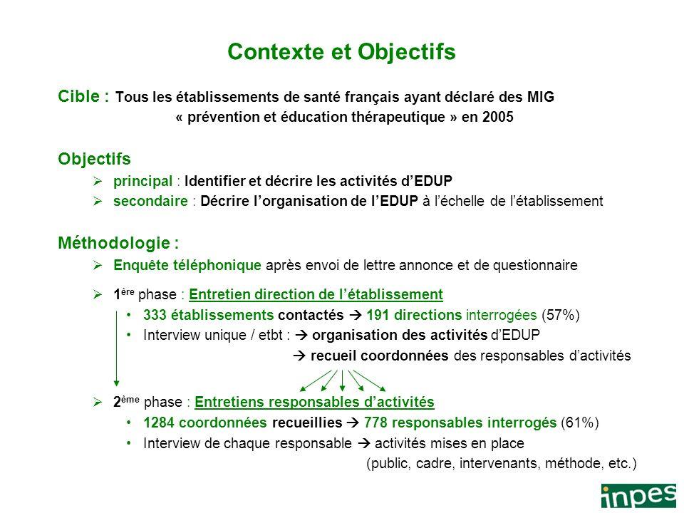 Contexte et Objectifs Cible : Tous les établissements de santé français ayant déclaré des MIG. « prévention et éducation thérapeutique » en 2005.