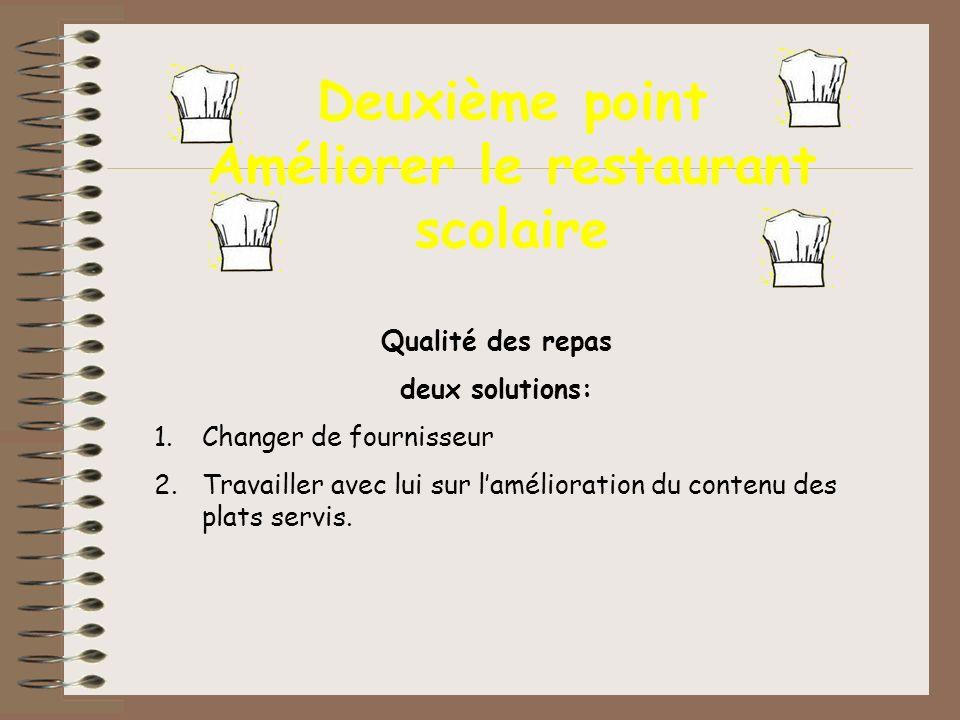 Deuxième point Améliorer le restaurant scolaire