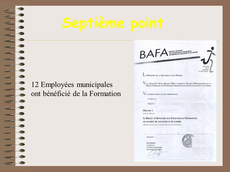 Septième point 12 Employées municipales ont bénéficié de la Formation
