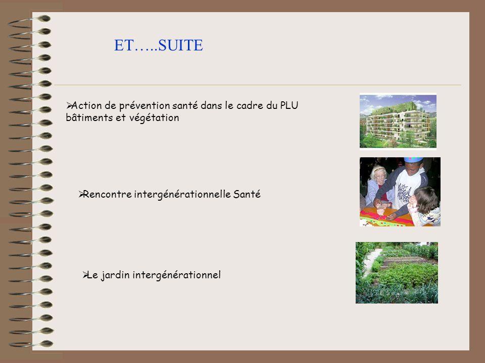ET…..SUITEAction de prévention santé dans le cadre du PLU bâtiments et végétation. Rencontre intergénérationnelle Santé.