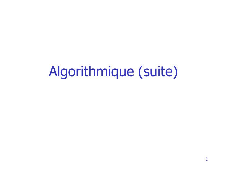 Algorithmique (suite)