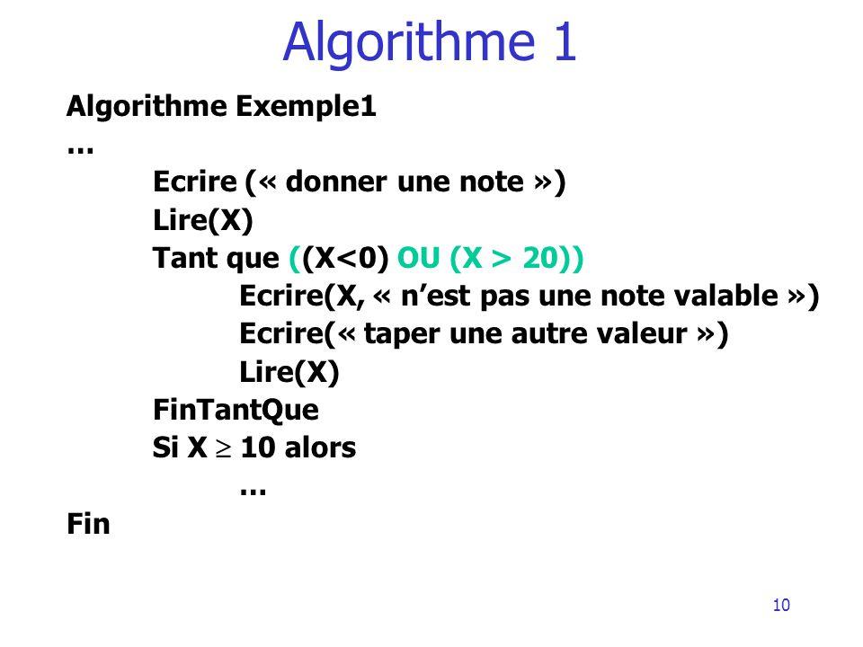Algorithme 1 Algorithme Exemple1 … Ecrire (« donner une note »)