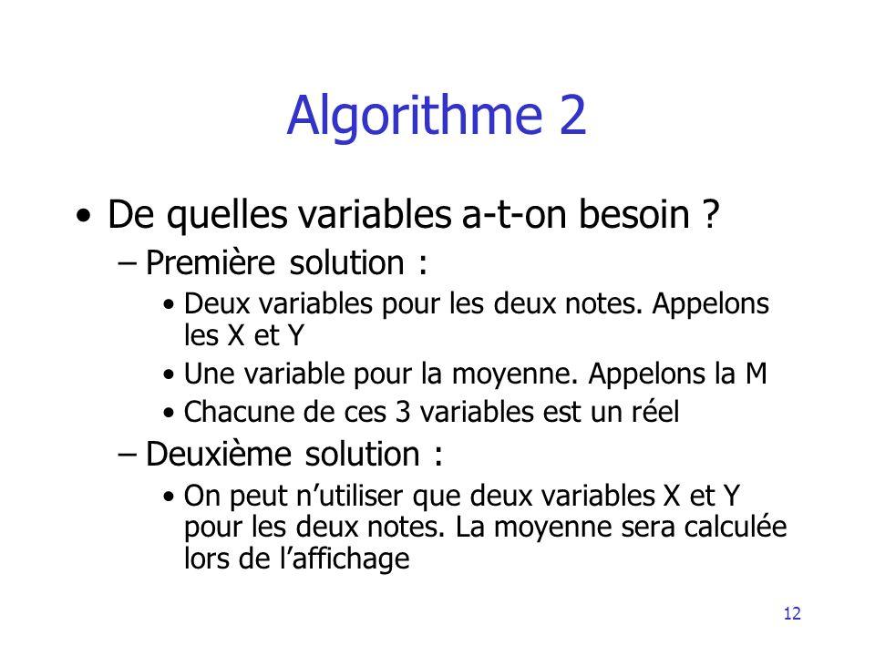Algorithme 2 De quelles variables a-t-on besoin Première solution :