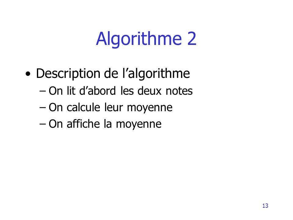 Algorithme 2 Description de l'algorithme On lit d'abord les deux notes