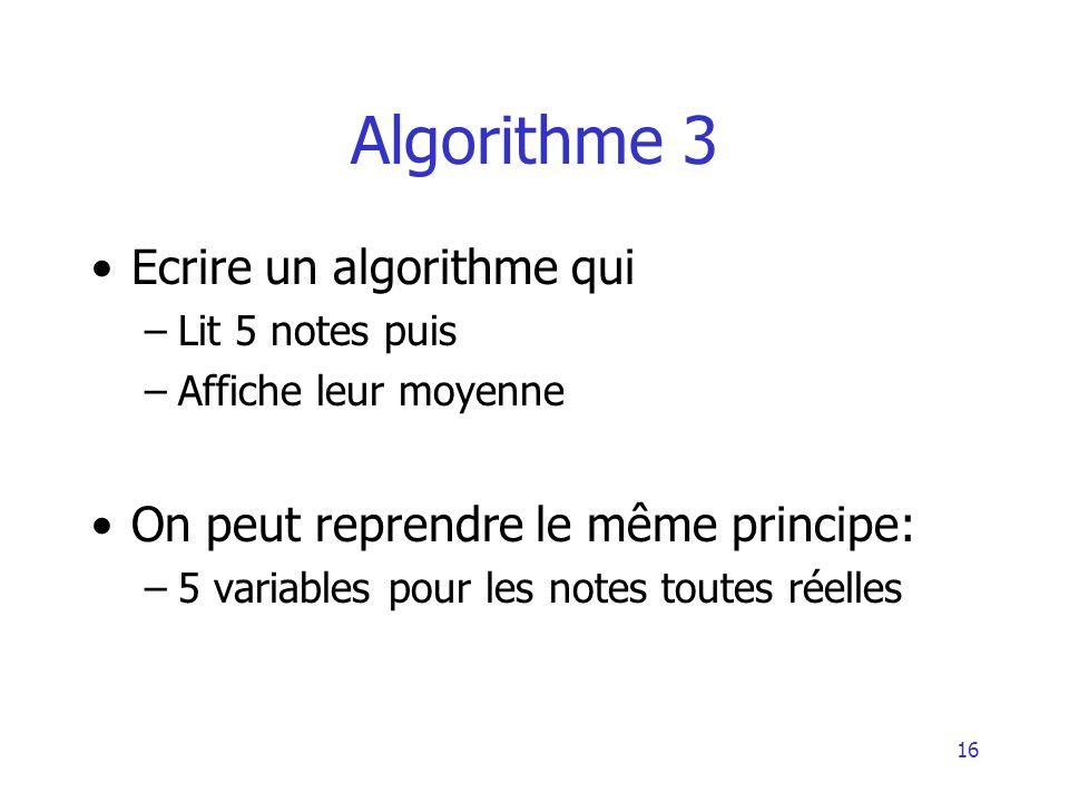 Algorithme 3 Ecrire un algorithme qui