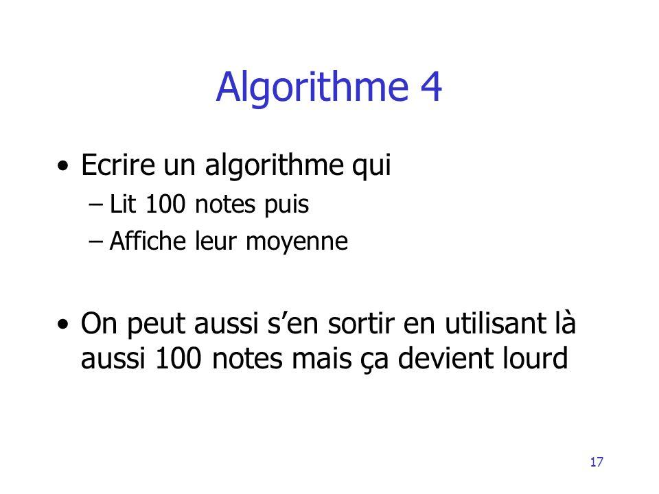 Algorithme 4 Ecrire un algorithme qui