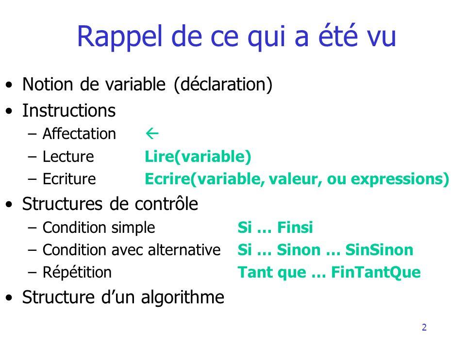 Rappel de ce qui a été vu Notion de variable (déclaration)