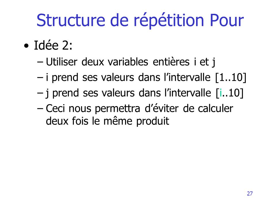 Structure de répétition Pour