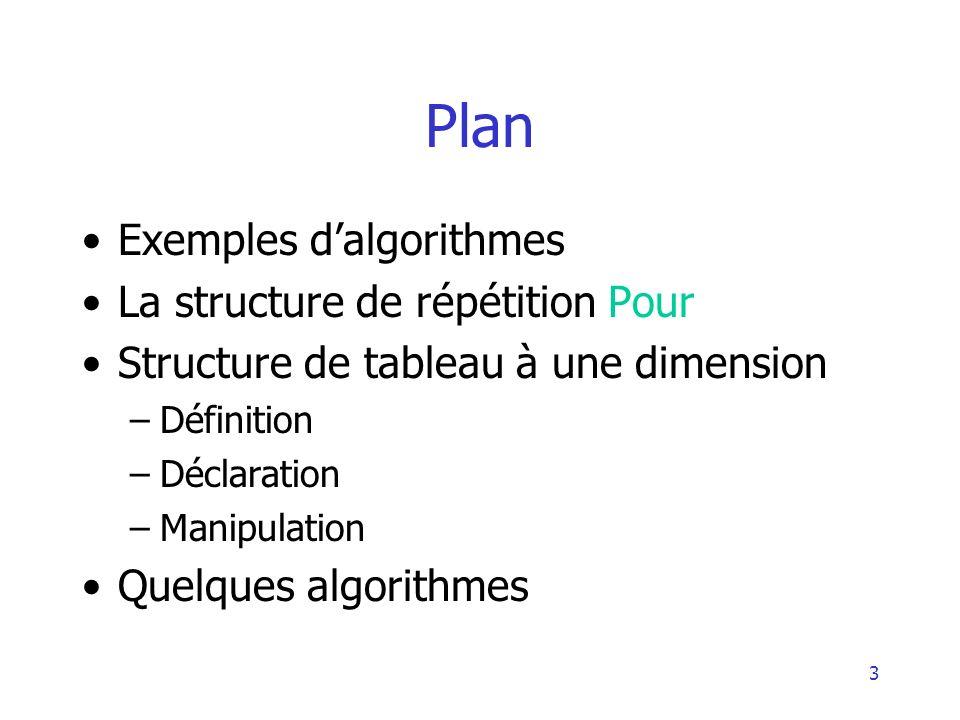 Plan Exemples d'algorithmes La structure de répétition Pour