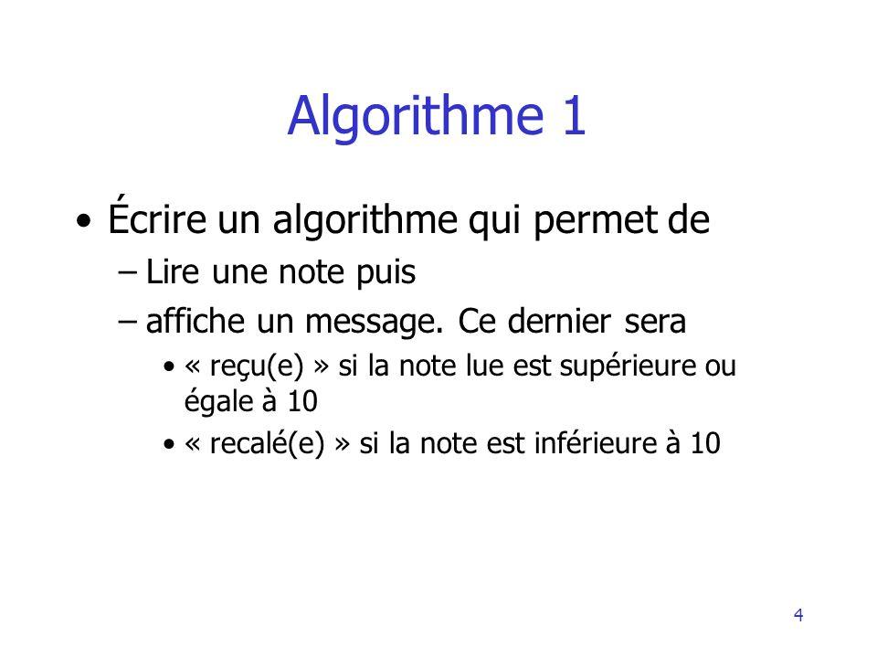 Algorithme 1 Écrire un algorithme qui permet de Lire une note puis