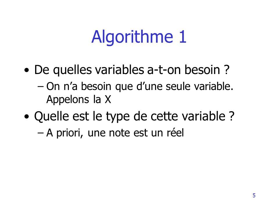 Algorithme 1 De quelles variables a-t-on besoin