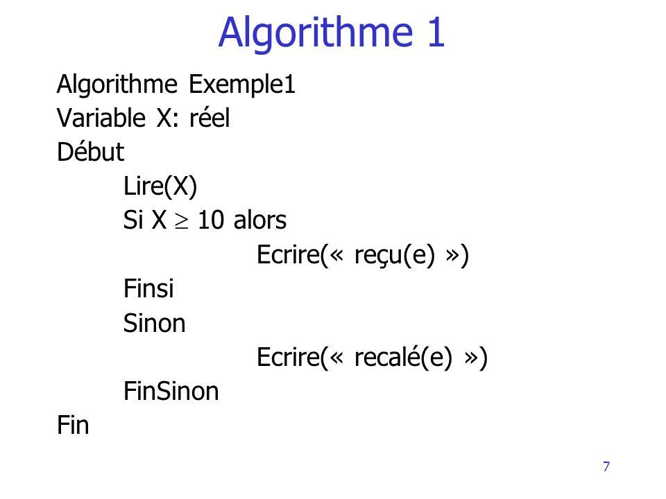 Algorithme 1 Algorithme Exemple1 Variable X: réel Début Lire(X)