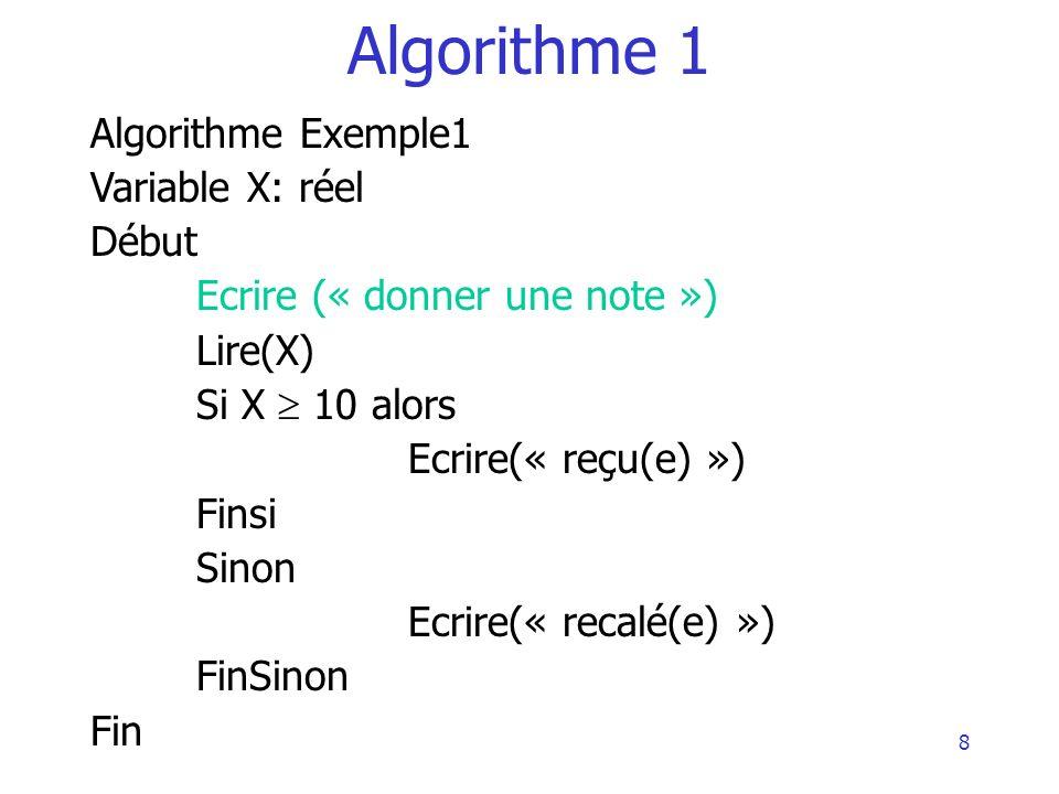 Algorithme 1 Algorithme Exemple1 Variable X: réel Début