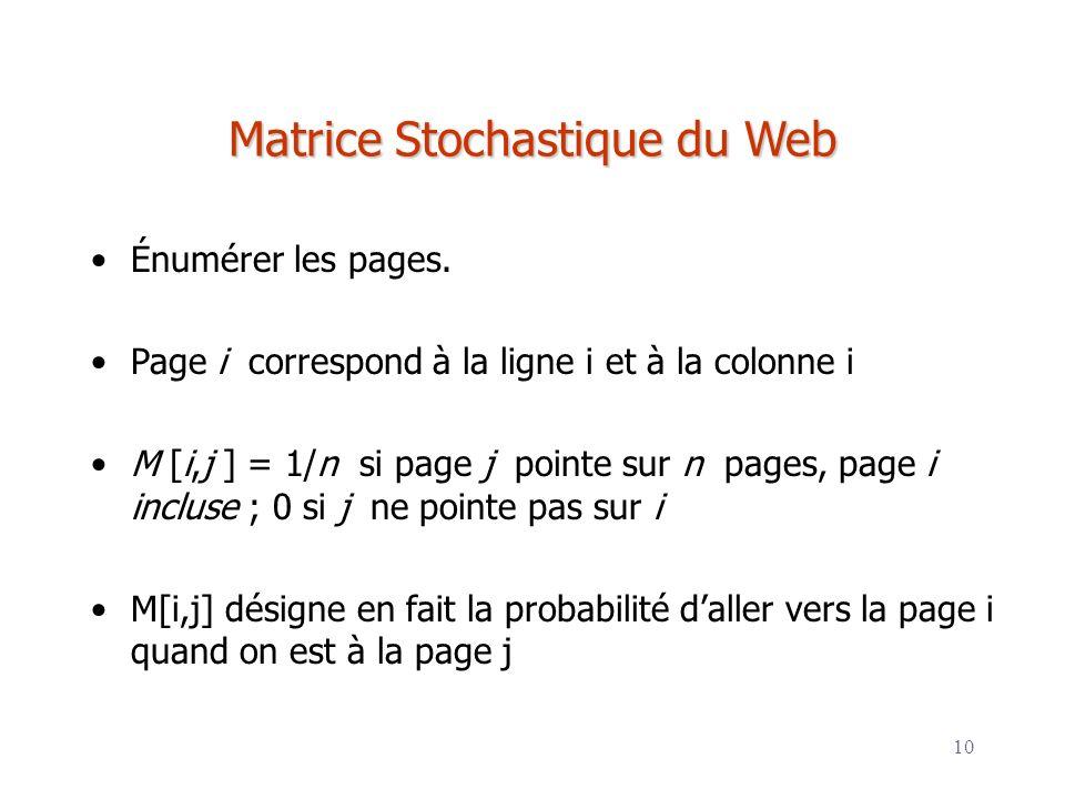 Matrice Stochastique du Web