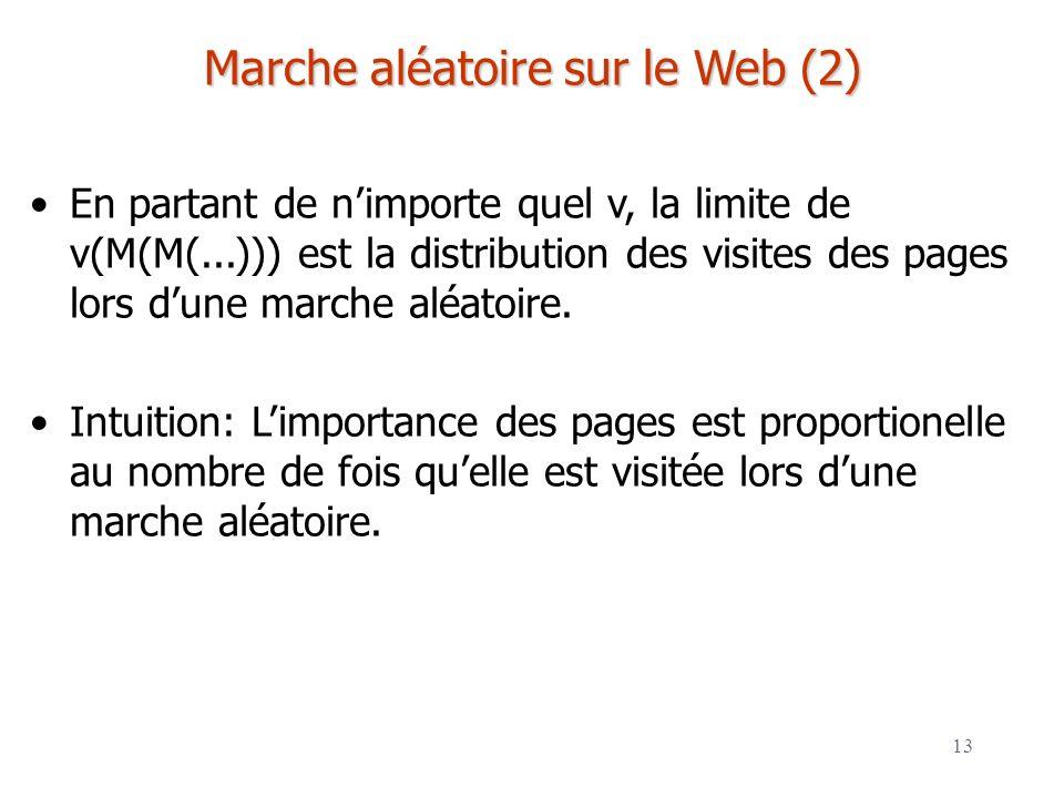 Marche aléatoire sur le Web (2)