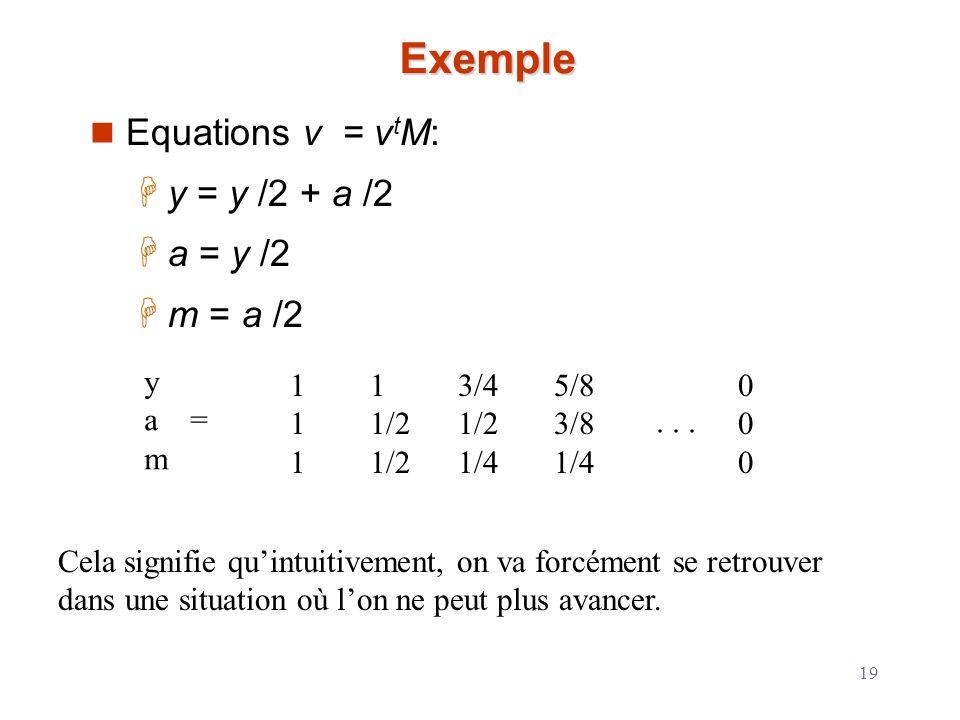 Exemple Equations v = vtM: y = y /2 + a /2 a = y /2 m = a /2 y a = m 1