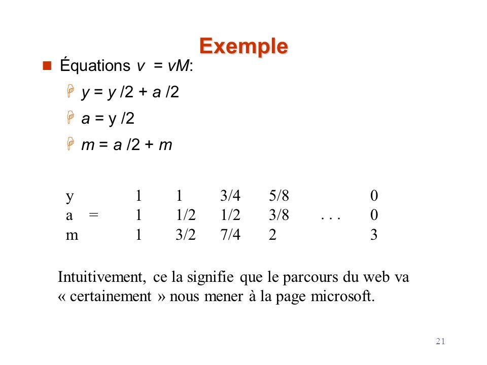Exemple Équations v = vM: y = y /2 + a /2 a = y /2 m = a /2 + m y a =