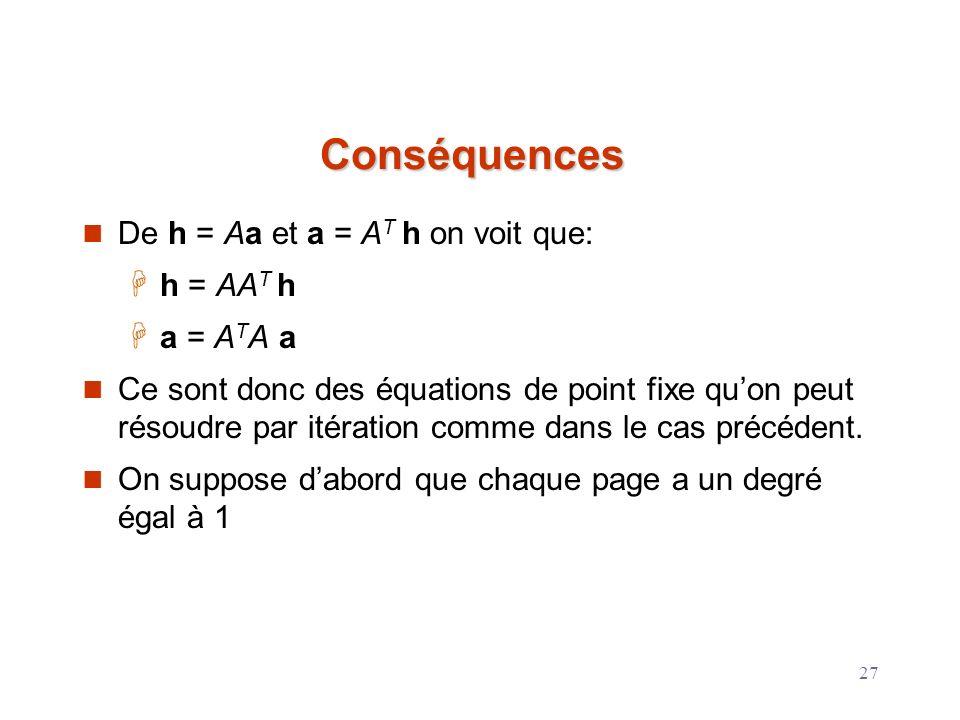 Conséquences De h = Aa et a = AT h on voit que: h = AAT h a = ATA a