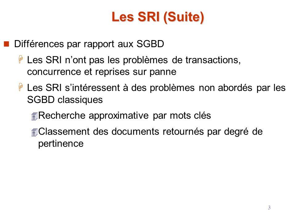 Les SRI (Suite) Différences par rapport aux SGBD