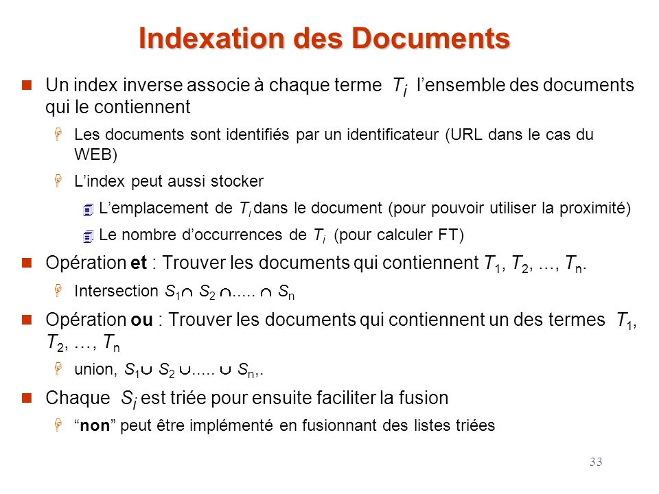 Indexation des Documents