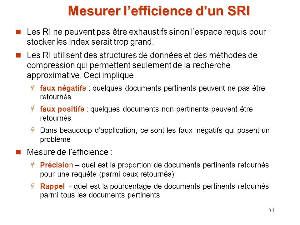 Mesurer l'efficience d'un SRI