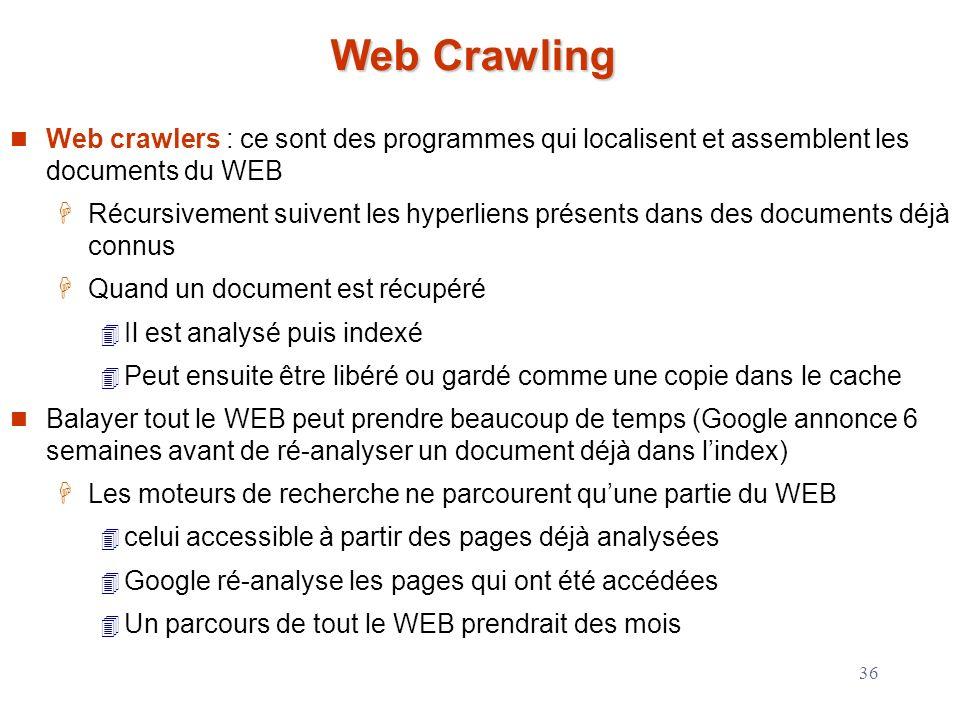 Web Crawling Web crawlers : ce sont des programmes qui localisent et assemblent les documents du WEB.