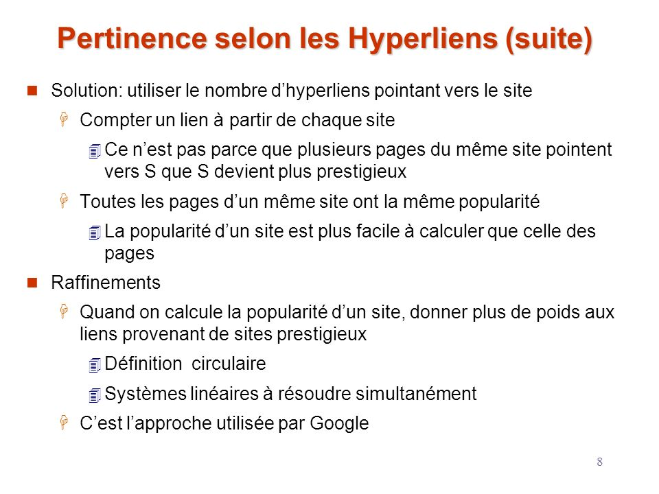 Pertinence selon les Hyperliens (suite)
