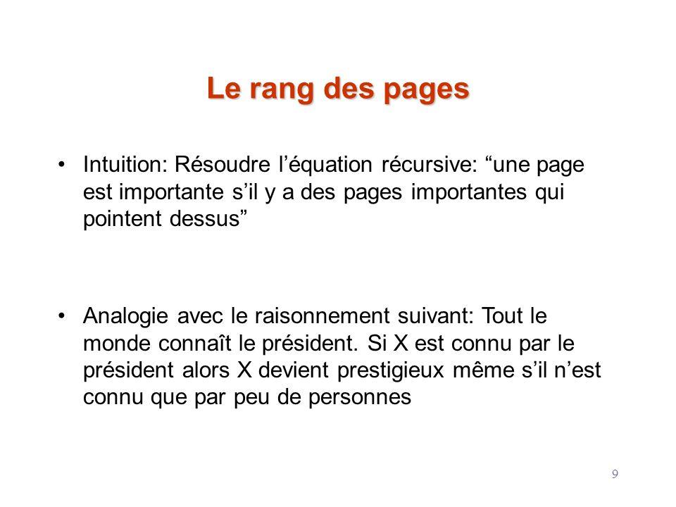 Le rang des pages Intuition: Résoudre l'équation récursive: une page est importante s'il y a des pages importantes qui pointent dessus