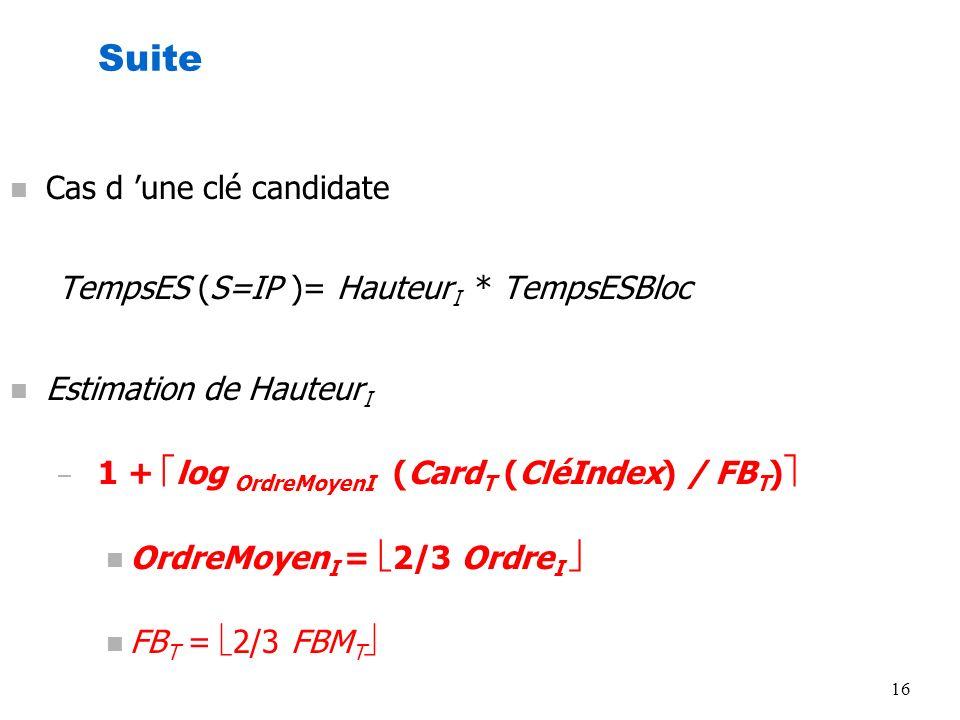 Suite Cas d 'une clé candidate TempsES (S=IP )= HauteurI * TempsESBloc