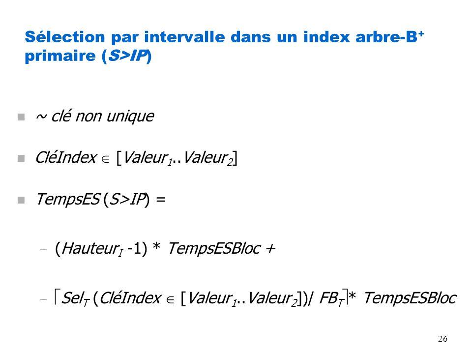 Sélection par intervalle dans un index arbre-B+ primaire (S>IP)