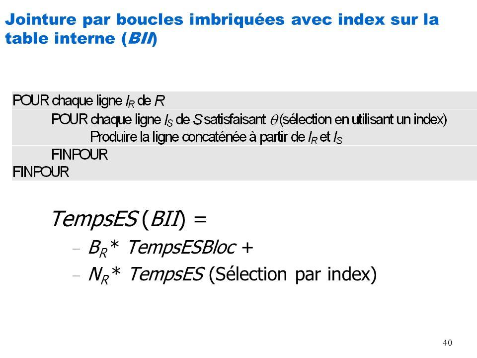 Jointure par boucles imbriquées avec index sur la table interne (BII)