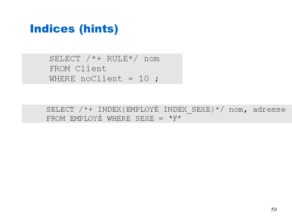 Indices (hints)