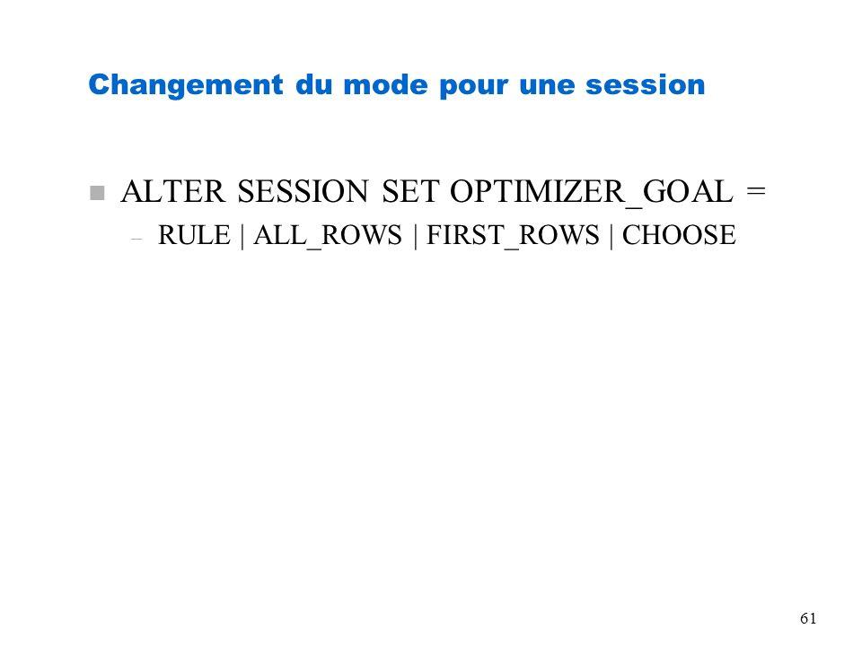 Changement du mode pour une session