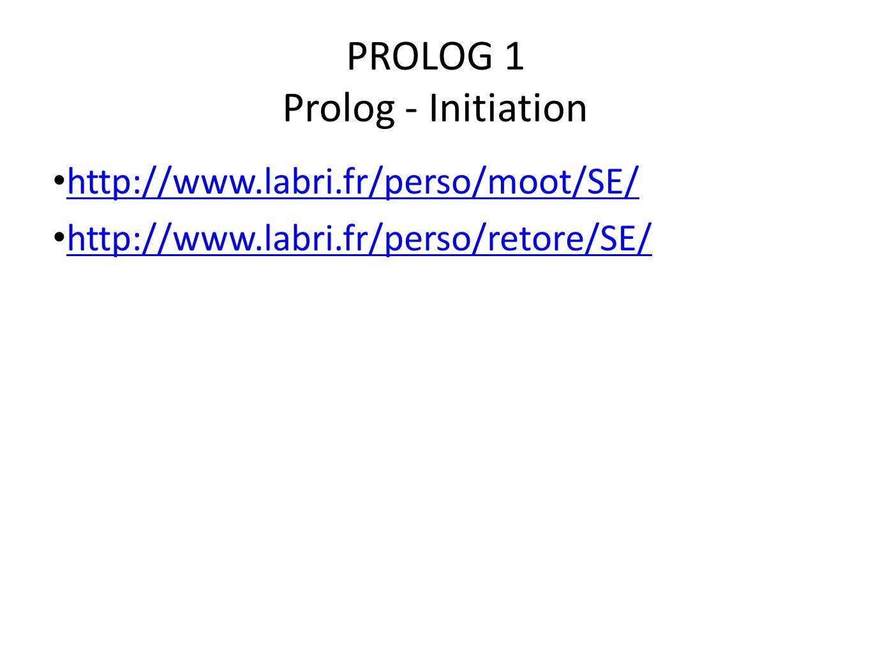 PROLOG 1 Prolog - Initiation
